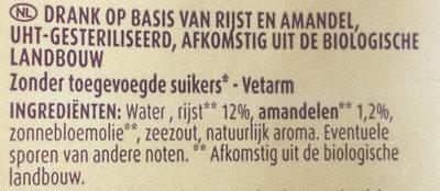 Boisson riz et amande - Ingredients