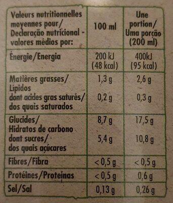 Boisson saveur amande bio - Informations nutritionnelles - fr