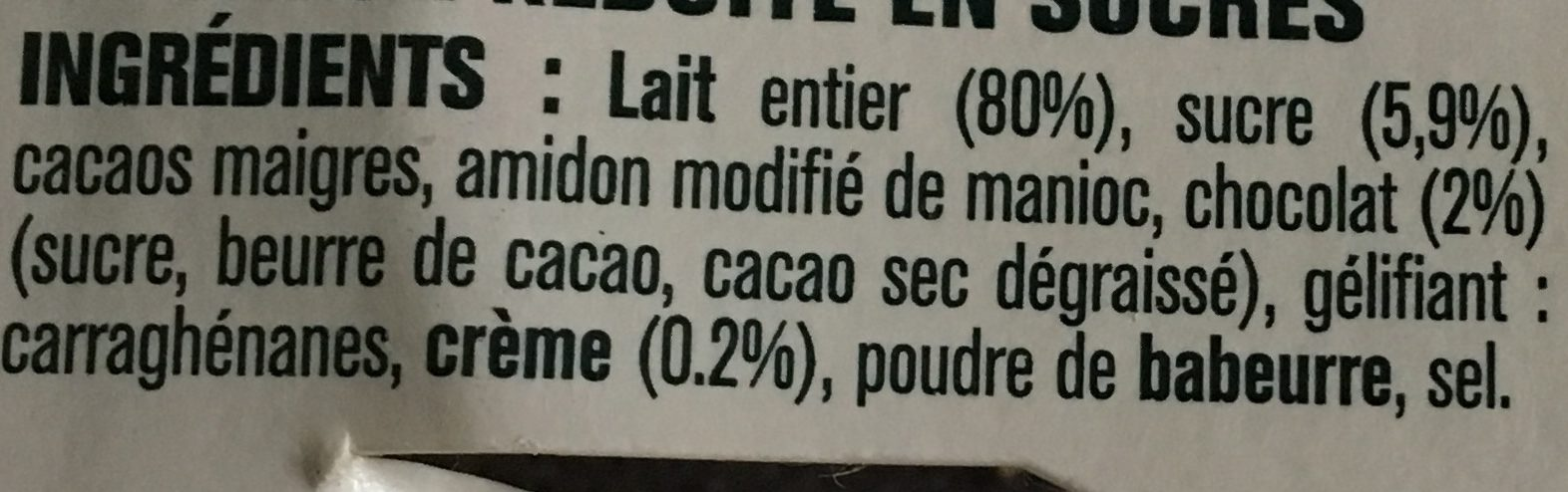Detox -30% crème dessert chocolat - Ingredients