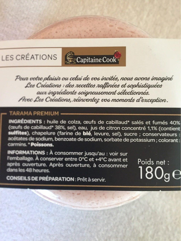 Les Créations Capitaine Cook Le Premium Tarama 38% d'œufs de cabillaud le pot de 180 g - Product