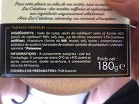 Les Créations Capitaine Cook Le Premium Tarama 38% d'œufs de cabillaud le pot de 180 g - Ingredients