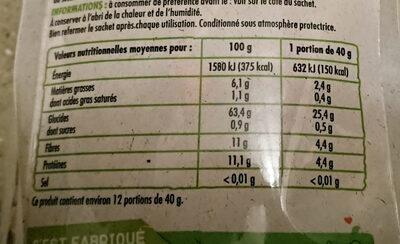 Flocons d'avoine complète - Informations nutritionnelles