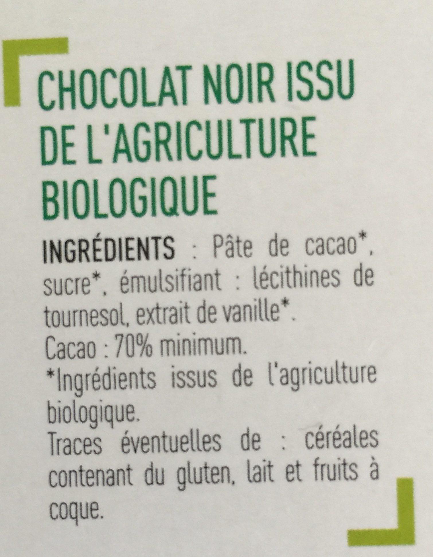 Chocolat Noir 70% cacao - Ingrédients - fr
