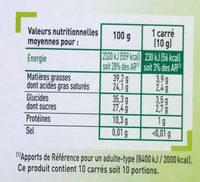 Chocolat Noir 70% cacao - Informations nutritionnelles - fr