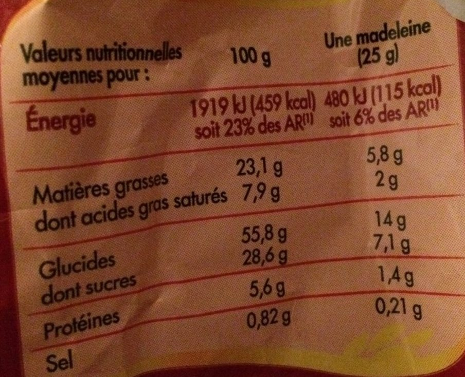 Madeleines nappées de chocolat aux œufs frais - Informations nutritionnelles