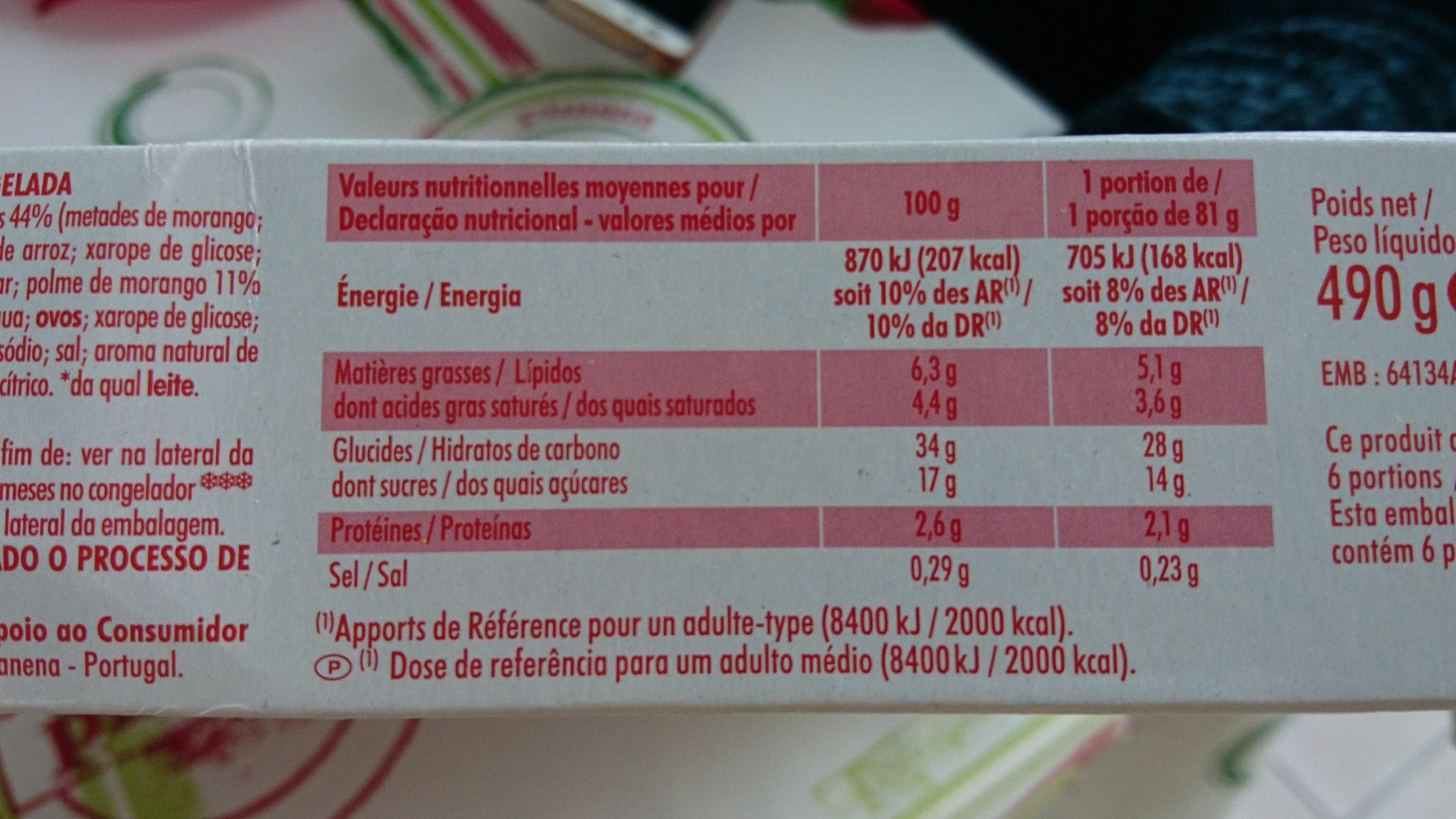 Tarte aux fraises - Informations nutritionnelles - fr