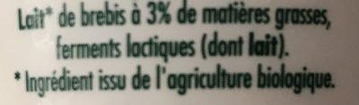 Yaourt de brebis nature bio - Ingrédients