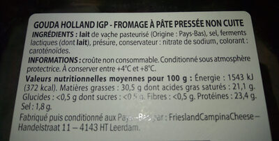 Gouda holland IGP - Informations nutritionnelles
