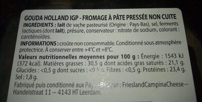 Gouda holland IGP - Informations nutritionnelles - fr