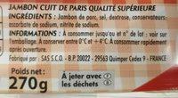 Mon Paris sans couenne - Ingrediënten - fr