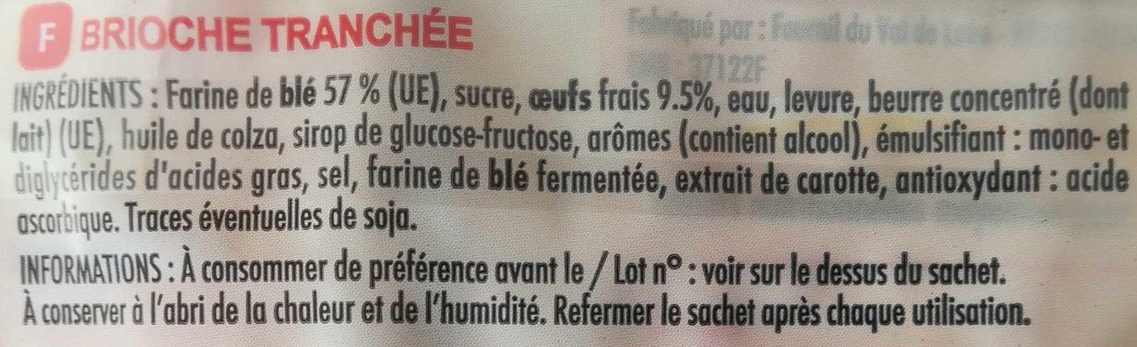 Lot de 3 Brioches Tranchées - Ingredients - fr