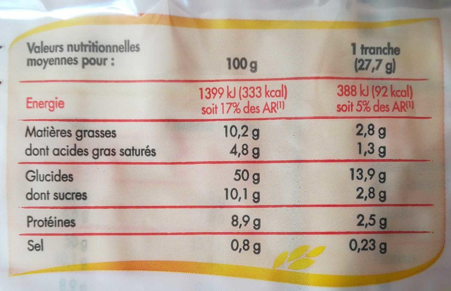Lot de 3 Brioches Tranchées - Nutrition facts - fr