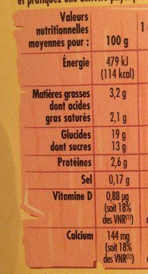 Goûters lactés saveur vanille - Informations nutritionnelles