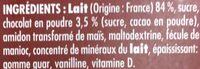 Goûters lactés saveur chocolat - Ingrédients - fr