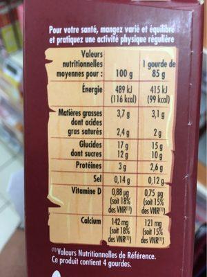 Goûters lactés saveur chocolat - Informations nutritionnelles - fr