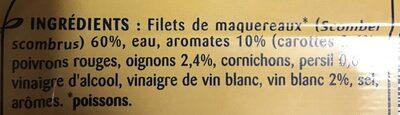 Filets de maquereaux au vin blanc et aux aromates - Ingredients - fr