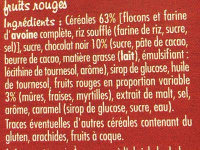 Muesli Crisp chocolat et fruits rouges - Ingredients