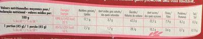Muesli Crisp chocolat et fruits rouges - Nutrition facts