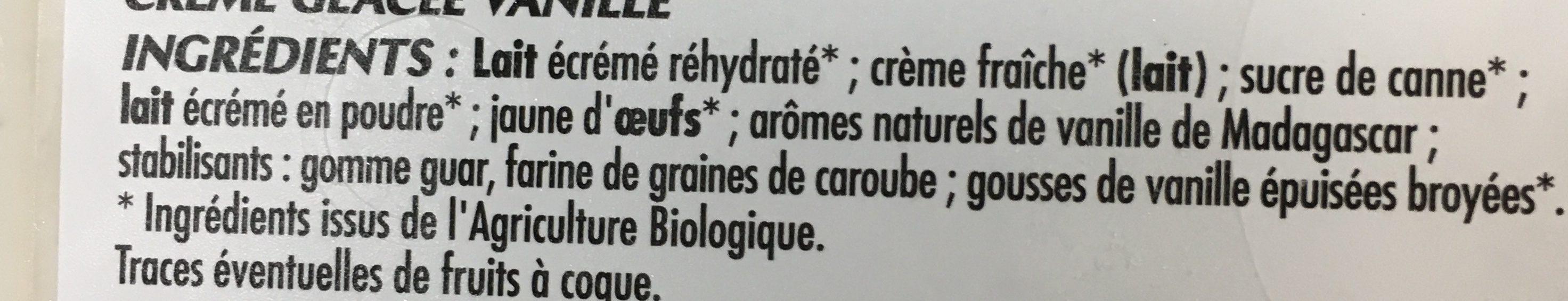 Adélie Crème glacée vanille de Madagascar BIO le bac de 900 - Ingrédients - fr