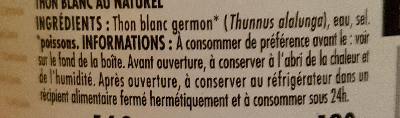 Thon blanc - fraîcheur extra - Ingrédients - fr