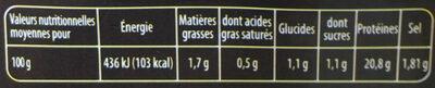 Blanc de poulet - Nutrition facts - fr