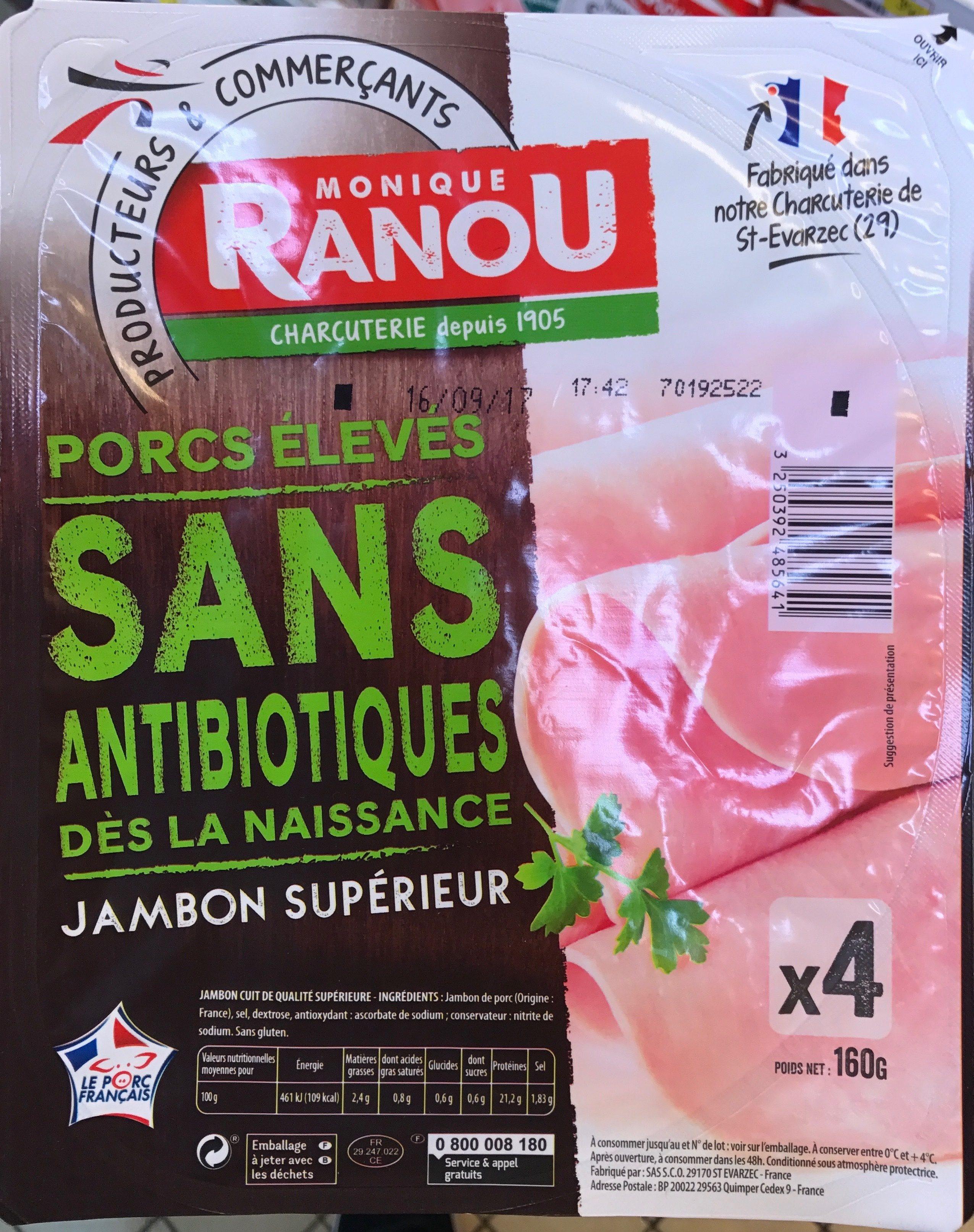 Jambon supérieur Porcs élevés Sans Antiobiotiques - Product