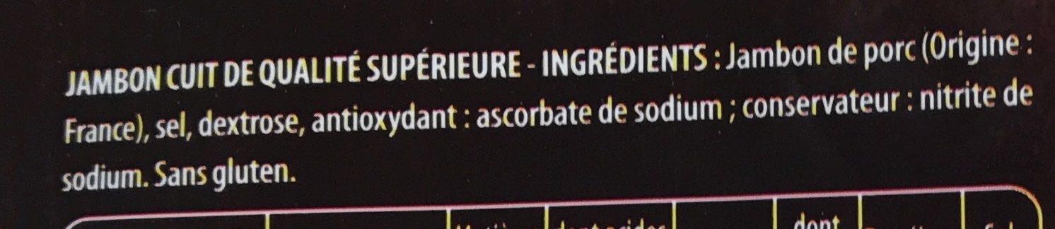 Jambon supérieur Porcs élevés Sans Antiobiotiques - Ingredients