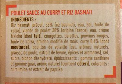 Poulet au curry Riz basmati - Ingrédients