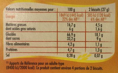 Sableo au chocolar coeur fruits exotiques - Nutrition facts - fr