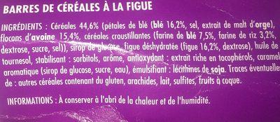 Barre cereales figue - Ingrédients - fr