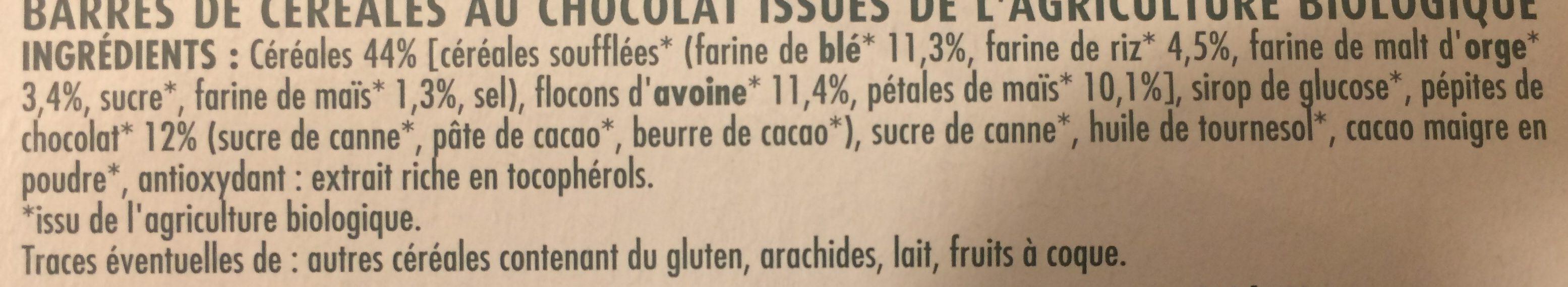 Barre chocolat 5 céreales - Ingrediënten - fr