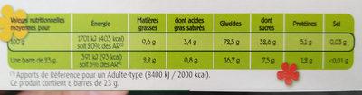 Barre chocolat 5 céreales - Voedingswaarden - fr