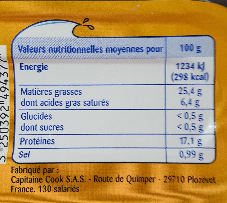 Filets de maquereaux grillés sauce rouille - Informations nutritionnelles - fr