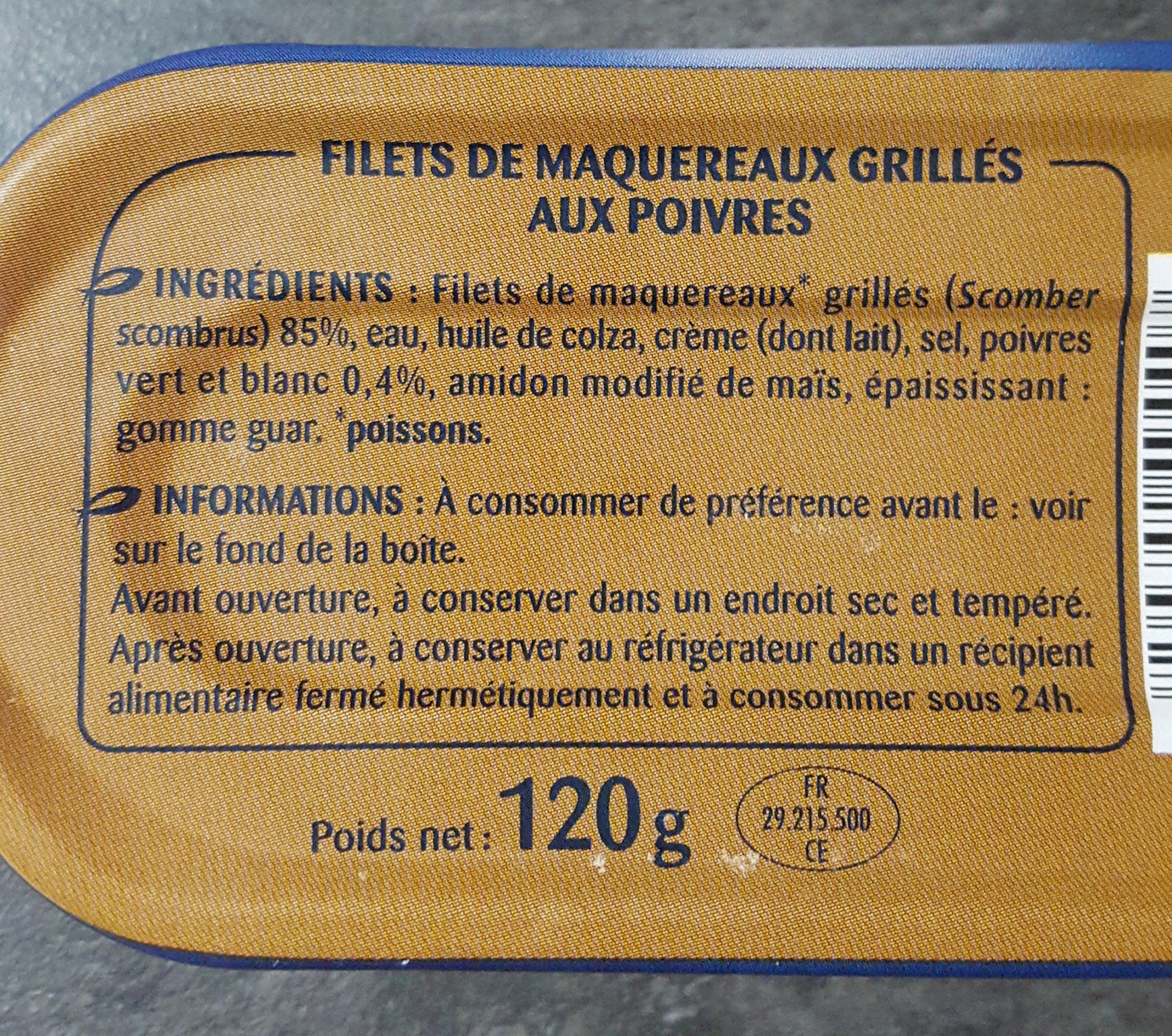 Filets de maquereaux grillés aux poivres - Ingredients
