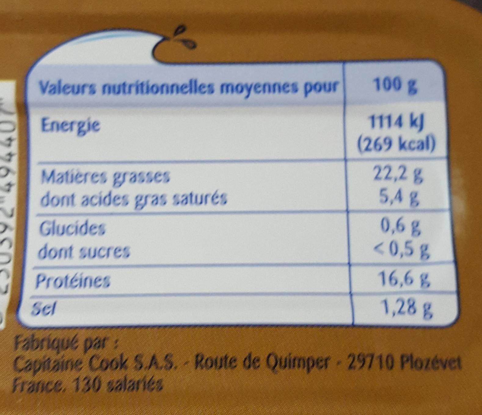 Filets de maquereaux grillés aux poivres - Nutrition facts