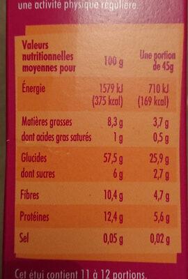 Muesli gourmand L'essentiel - Informations nutritionnelles - fr
