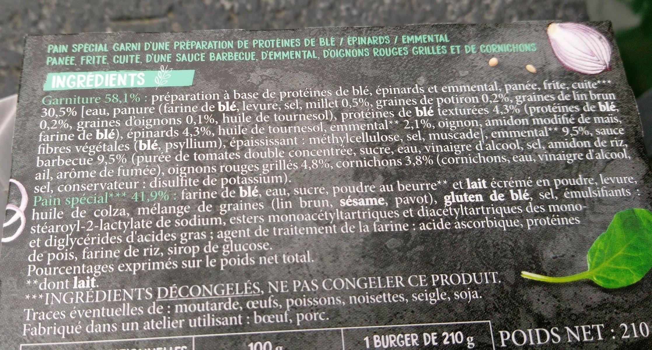 Burger vegetal - Ingrediënten - fr