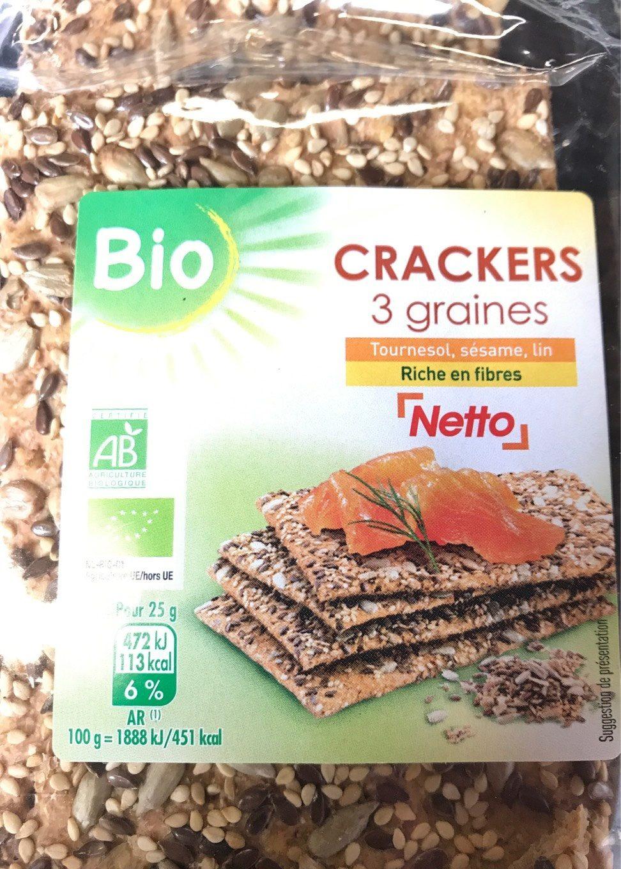 Crackers 3 graines - Tournesol, sésame, lin - Bio - Product - fr