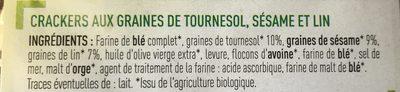 Crackers 3 graines - Tournesol, sésame, lin - Bio - Ingrediënten - fr