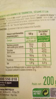 Crackers 3 graines - Tournesol, sésame, lin - Bio - Voedingswaarden - fr