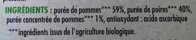 Purée de pomme poire bio - Ingredients - fr