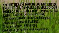 Yaourt brassé nature bio - Ingrediënten - fr