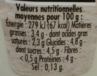 Yaourt brassé nature bio - Voedingswaarden - fr