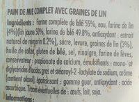 Grand mie complet graines de lin bleu blanc cœur - Ingredienti - fr