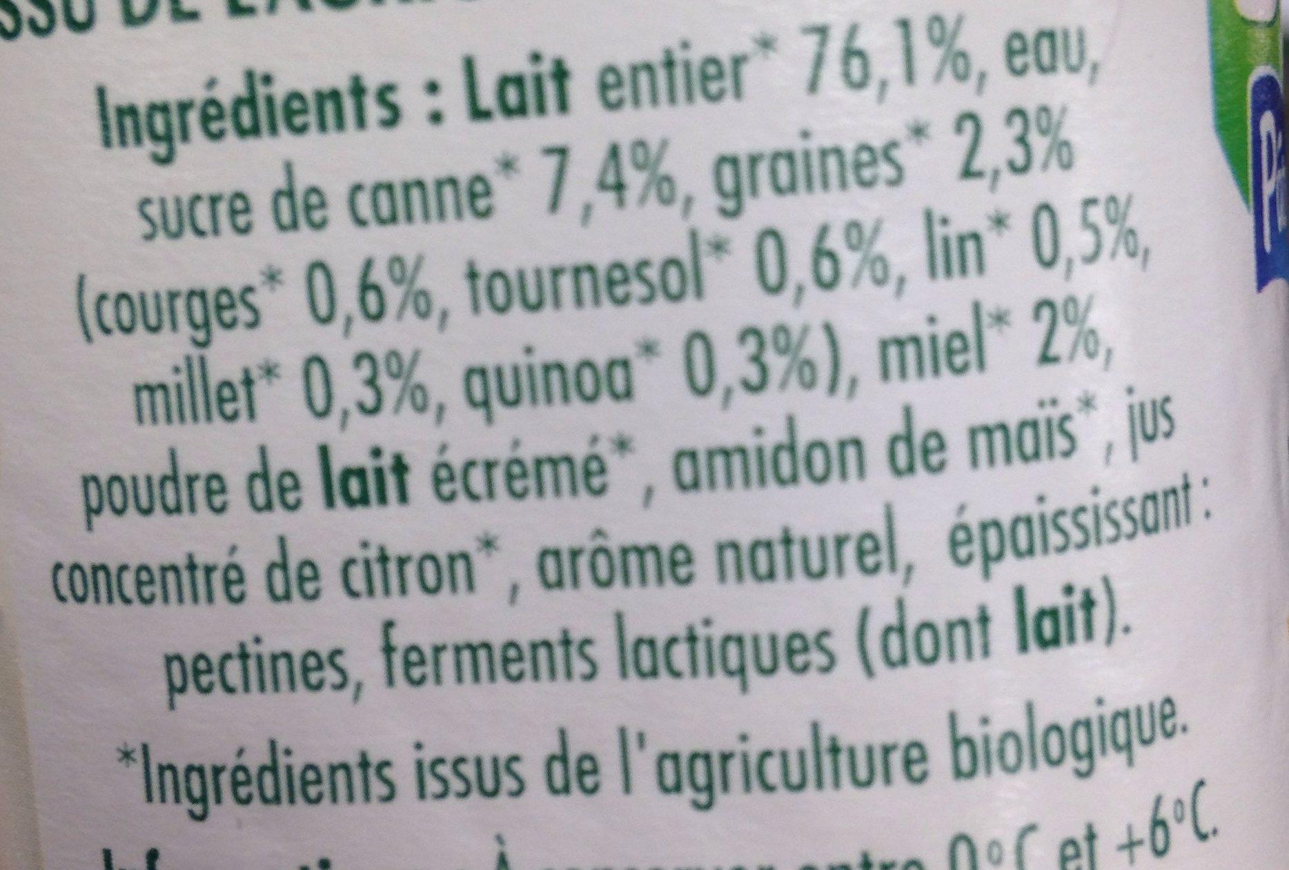 Yaourt brassé 5 graines & miel bio - Ingredienti - fr