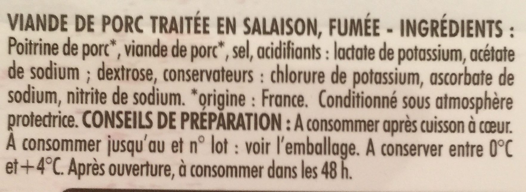 Allumettes Fumées Bleu Blanc Coeur -25% de sel - Ingredients - fr