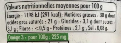 Crème Fraîche Epaisse Entière 30% - Informations nutritionnelles - fr