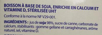 Boisson soja calcium - Ingrédients - fr