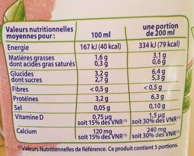 Boisson soja calcium - Informations nutritionnelles - fr