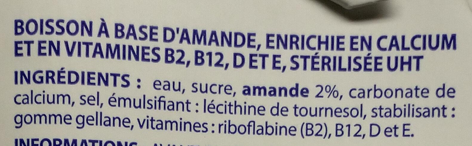 Boisson amande calcium - Ingrédients - fr